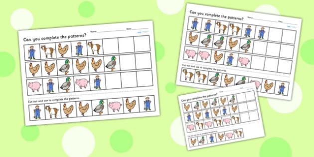 Farm Themed Differentiated Complete the Pattern Worksheet - farms