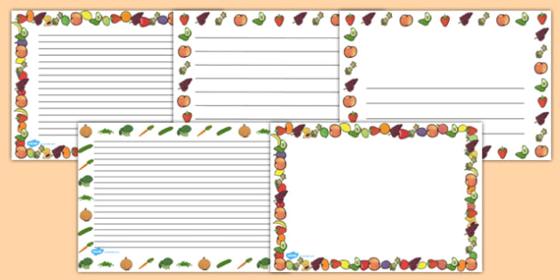 Fruit and Vegetables Full Page Borders (Landscape) - page border, border, frame, writing frame, fruit and vegetables, fruit and veg, fruit and vegetable page borders, fruit and vegetable lanscape borders, writing template, writing aid, writing, A4 pa