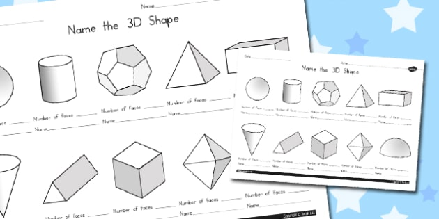 Name the 3D Shape Year 6 Worksheet - australia, 3d shape, year 6