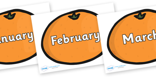 Months of the Year on Satsumas - Months of the Year, Months poster, Months display, display, poster, frieze, Months, month, January, February, March, April, May, June, July, August, September