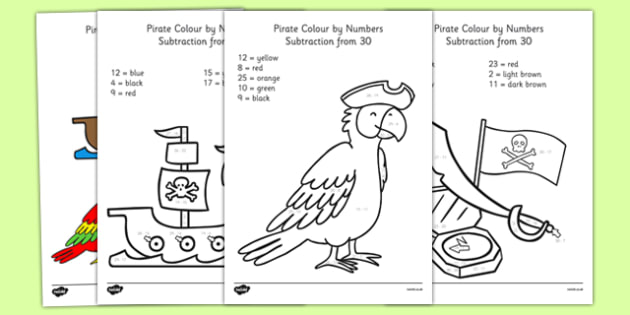 Pirate Themed Subtraction From 30 Colour By Numbers - pirate, subtraction, from 30, colour by numbers, colour, number, 30