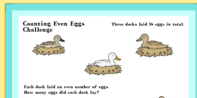 A4 KS1 Counting Even Eggs Maths Challenge Poster - Maths, Eggs