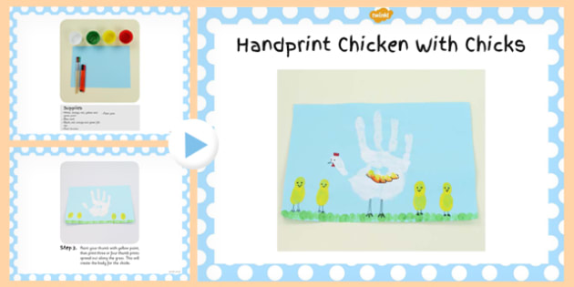 Handprint Chicken With Chicks Craft PowerPoint - chicken, craft