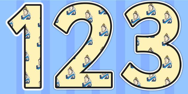 Queen Victoria Themed Display Numbers - queen victoria, display numbers, themed number, classroom numbers, numbers for display, classroom display, numbers