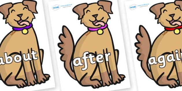 KS1 Keywords on Dogs - KS1, CLL, Communication language and literacy, Display, Key words, high frequency words, foundation stage literacy, DfES Letters and Sounds, Letters and Sounds, spelling