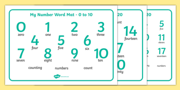Numbers and Words 0 20 Word Mat - numbers, word, word mat, 0-10, 0-20