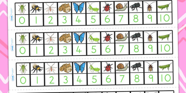 Minibeasts Number Track 1 10 - count, counting, counting aid