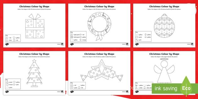 Christmas Themed Colour by 2D Shape Activity Sheet