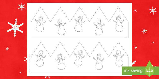 Christmas Snowman Party Hat Template Activity