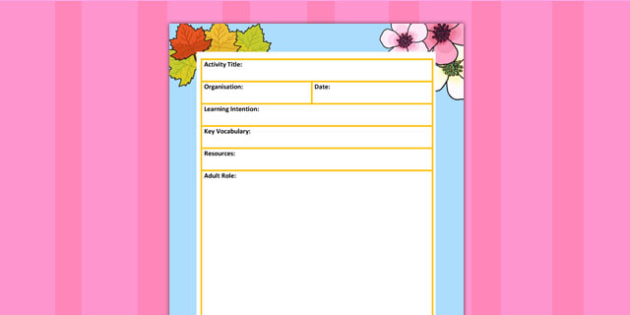 Seasons Themed Adult Led Carpet Based Activity Planning Template