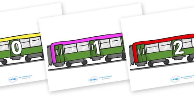 Numbers 0-100 on Trains - 0-100, foundation stage numeracy, Number recognition, Number flashcards, counting, number frieze, Display numbers, number posters