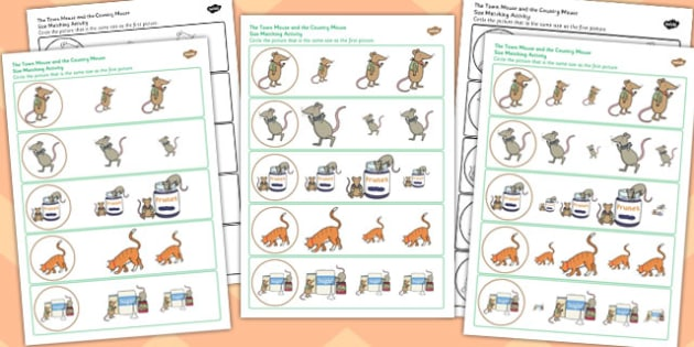 The Town Mouse and the Country Mouse Size Matching Worksheets