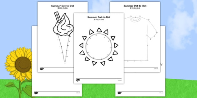 Summer Dot to Dots Chinese Mandarin Translation - EYFS, Early Years, counting, fine motor skills, summer, holidays, dot-to-dot