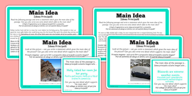 Guided Reading Skills Task Cards Main Idea Romanian Translation - romanian, guided reading