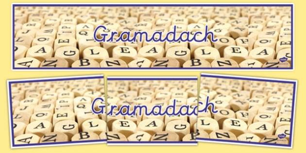 Gramadach Display Banner-Irish