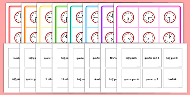 Mixed Time Bingo - Mixed time bingo, time game, Time resource, Time vocaulary, clock face, Oclock, half past, quarter past, quarter to, shapes spaces measures
