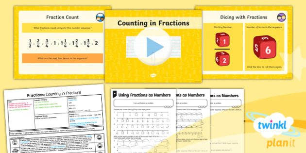 PlanIt Y3 Fractions Lesson Pack Recognise and Use Fractions as Numbers (1) - Fractions, number line, number sequence, sequence, fraction number line, fraction sequence, counting in fractions