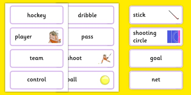 The Olympics Hockey Word Cards - Hockey, Olympics, Olympic Games, sports, Olympic, London, 2012, word card, flashcards, cards, activity, Olympic torch, events, flag, countries, medal, Olympic Rings, mascots, flame, compete