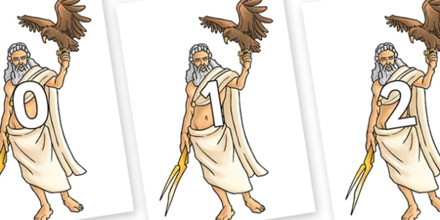 Numbers 0-31 on Zeus - 0-31, foundation stage numeracy, Number recognition, Number flashcards, counting, number frieze, Display numbers, number posters