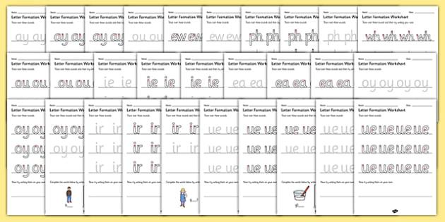 Phase 5 Sounds Letter Formation Worksheets SEN - sound, letters