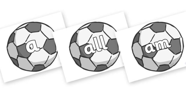 Foundation Stage 2 Keywords on Footballs - FS2, CLL, keywords, Communication language and literacy,  Display, Key words, high frequency words, foundation stage literacy, DfES Letters and Sounds, Letters and Sounds, spelling
