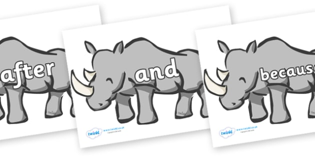 Connectives on Rhinos - Connectives, VCOP, connective resources, connectives display words, connective displays