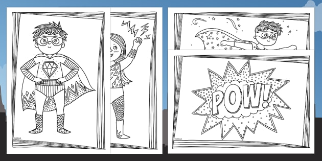 Superheroes Mindfulness Colouring Pages