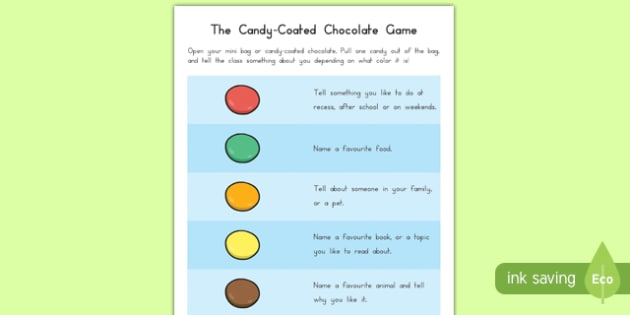 The Candy-Coated Chocolate Game Cards