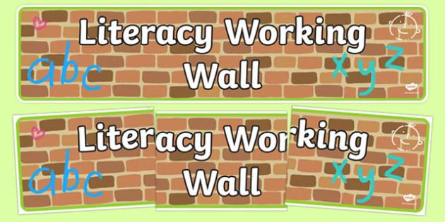 Literacy Working Wall Display Banner EYFS - literacy working wall, display banner, banner, header, banner for display, display header, header for display