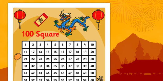 Chinese New Year Themed 100 Number Square - number square, number, square, numeracy, maths, chinese new year, chinese new year number square, math, numbers, counting on, counting back, times tables, addition, subtraction, number sequences