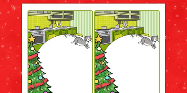 Christmas Cat Themed Editable Note - christmas cat, mog, editable, note