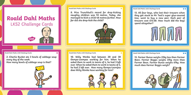 Roald Dahl KS2 Differentiated Maths Challenge Cards