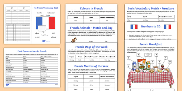 Learn French Activity Sheet Starter Pack - french, learn, france, activity, starter pack, worksheet