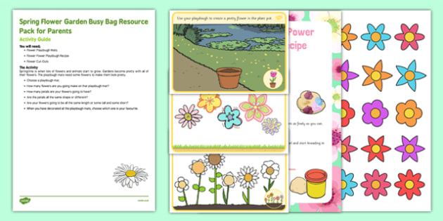 Spring Flower Garden Busy Bag Resource Pack for Parents - Gardens, flowers, spring, eyfs