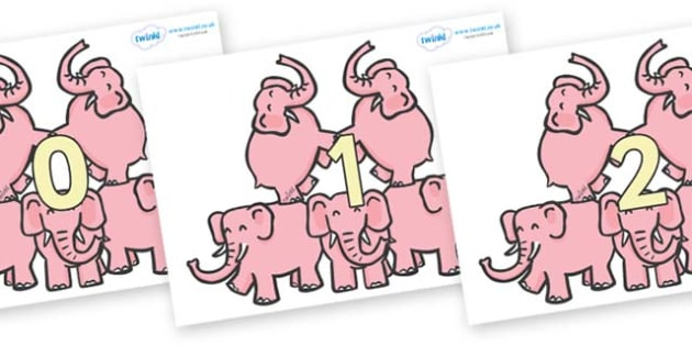 Numbers 0-31 on Five Elephants - 0-31, foundation stage numeracy, Number recognition, Number flashcards, counting, number frieze, Display numbers, number posters