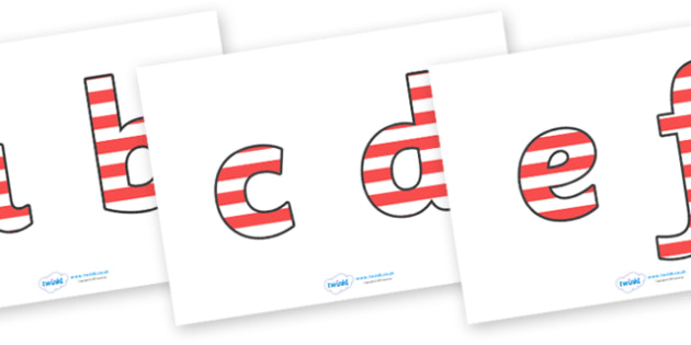 Stripey Display Lettering (Lowercase) - A-Z, A4, display, stripey, lowercase, Alphabet frieze, Display letters, Letter posters, A-Z letters, Alphabet flashcards