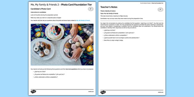 Mi familia y amigos y yo 2 Tarjetas con Foto Foundation Tier - spanish, family, friends, birthday, party, speaking, photo-card, foundation