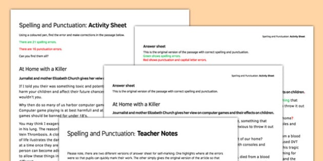 Spelling and Punctuation Correction Activity Sheet - spelling, punctuation, correction, activity, worksheet