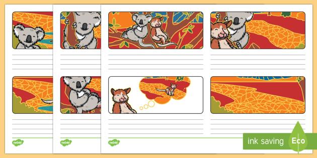 Why The Koala Has A Stumpy Tail Storyboard Template-Australia - Australian, Aboriginal, Dreamtime Stories, traditional, retell, recount, creative writing, writing,