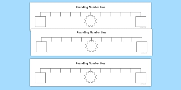 Rounding Support Number Line - rounding, round numbers, number line, counting, ks2, maths, y4, year, 4, four