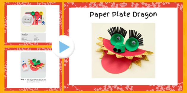 Paper Plate Dragon Craft Instructions PowerPoint - craft, paper, plate, dragon, instructions, powerpoint
