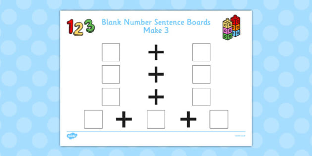 Blank Number Sentence Boards to 10 Make 3 - sentence boards