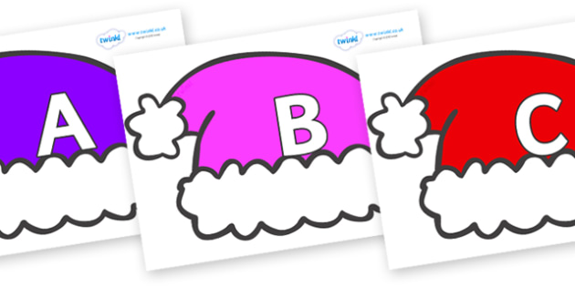 A-Z Alphabet on Santa Hats - A-Z, A4, display, Alphabet frieze, Display letters, Letter posters, A-Z letters, Alphabet flashcards