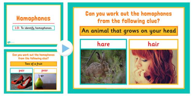 Homophones PowerPoint - homophones, literacy, english, visual aid, homphones