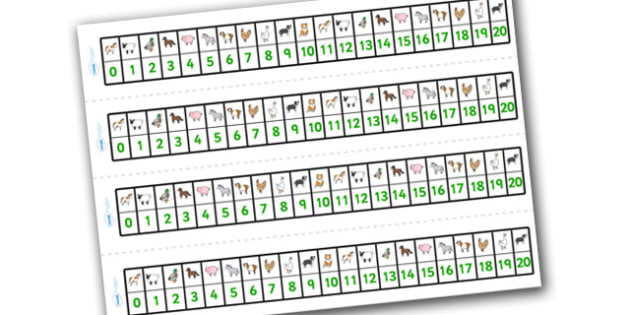 Farm Number Track (1-20) - Maths, Math, number track, farm, numbertrack, Counting, Numberline, Number line, Counting on, Counting back, farm, pig, cow, chicken, goat, tractor, farmer, chicken, goat, sheep, hay, milk, eggs