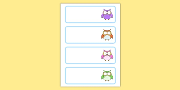 Cute Owl Rainbow-Themed Drawer, Peg, Name Labels - cute owl, rainbow, drawer, peg, name, labels, display