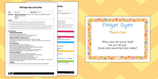 EYFS Phonic Spin Finger Gym Activity Plan and Prompt Card Pack