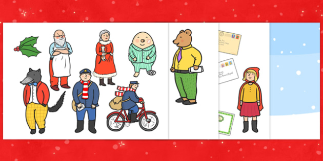 Story Cut Outs to Support Teaching on The Jolly Christmas Postman - the jolly christmas postman, story cut outs, the jolly postman story cut outs, christmas cut outs, cutout