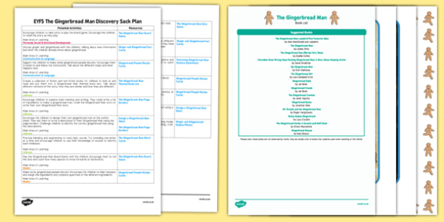 EYFS The Gingerbread Man Discovery Sack Plan and Resource Pack - discovery sack, gingerbread