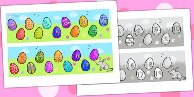 Missing Number Number Line 0 20 Easter - number line, easter, RE